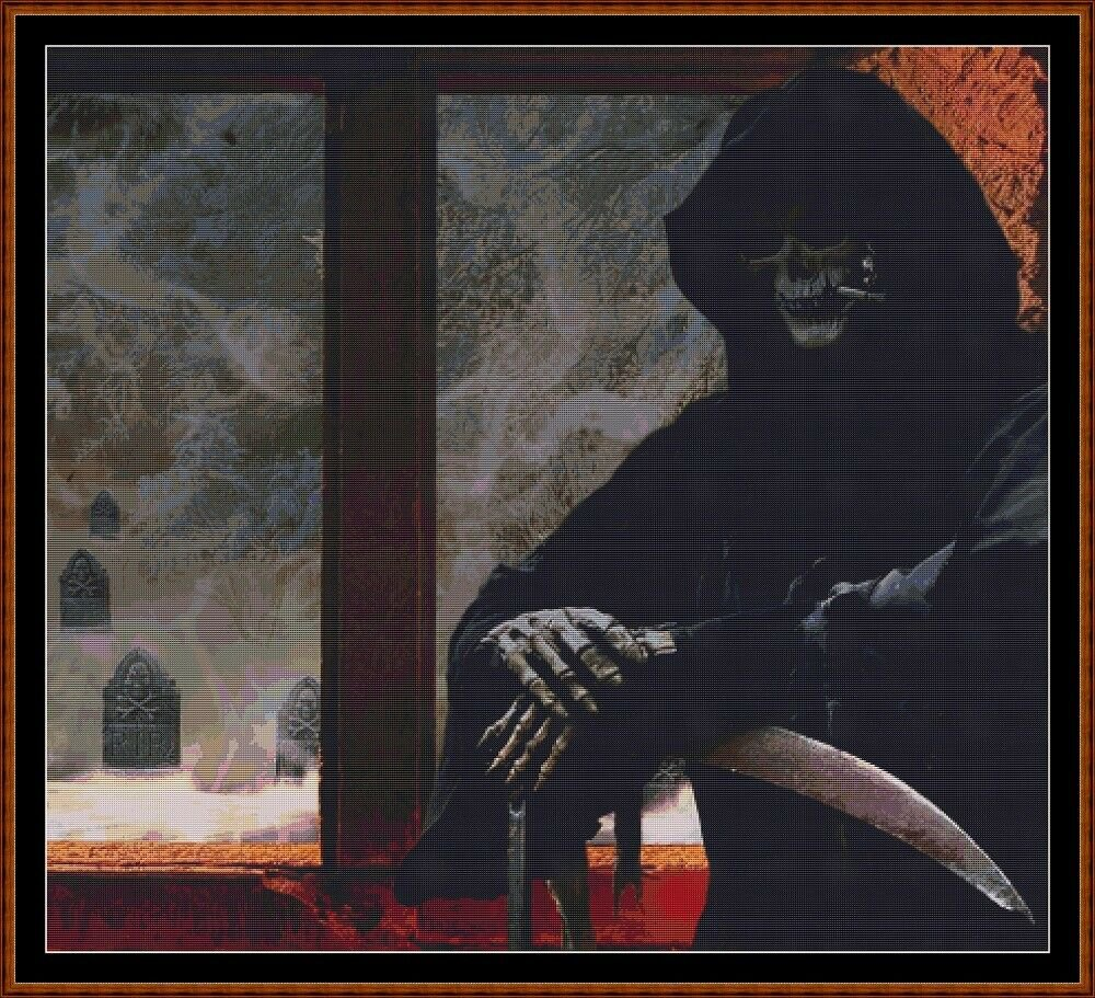 PATIENCE Cross Stitch Pattern [PDF by email] (gothic death reaper)