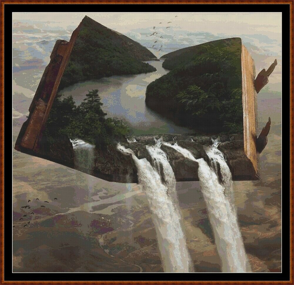WATERFALL BOOK Cross Stitch Pattern [PDF by email] (fantasy)