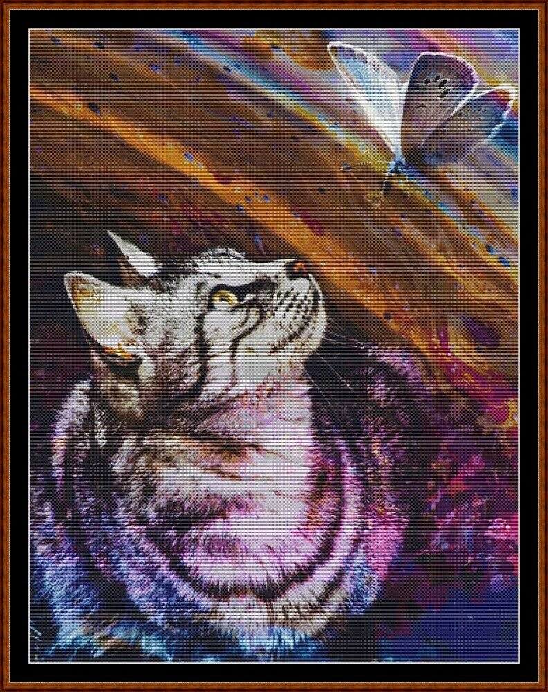BUTTERFLY HUNT Cross Stitch Pattern [PDF by email] {fantasy cat}
