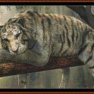 SLEEPY TIGER Cross Stitch Pattern [PDF by email] (white tiger cat feline)