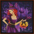 WITCHY TREAT Cross Stitch Pattern [PDF by email] {halloween pumpkin kitty}