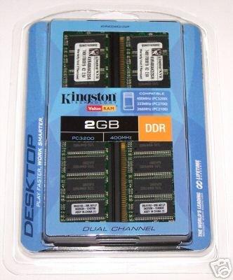 Kingston ValueRAM 2GB 2x 1GB DDR PC-3200 400MHz 184-pin Desktop Memory