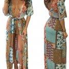 Hot Low Cut Bohemian High Slit Beach Dress