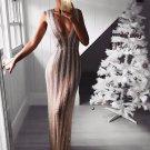 Glitter V-neck Sheer Sexy Evening Dress