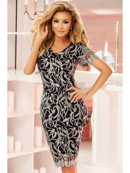 Attractive Lace V Neck Pencil Dress