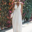 Lace Detail V Neck Backless Dress