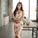 Korean Slit Bodycon Sleeveless Floral Dresses