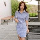 Striped Turndown Collar Short Sleeve Bodycon Dress