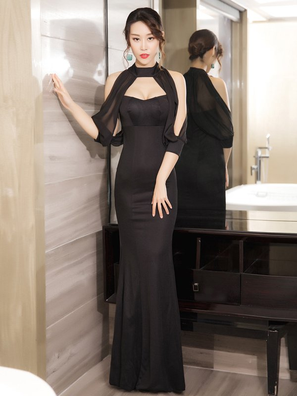 Sexy Low Cut Off Shoulder Solid Bodycon Evening Dress