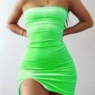 Solid Velvet Strapless Dress For Women