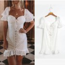 Fashion Lace Up Embroidery White Ladies Dress