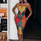 Ethnic Style Colorblock Printing Strapless Dress