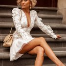 Ruffles Detail Embroidered White Long Sleeve Dress
