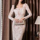 V Neck Gauze Panel Fitted Long Sleeve Lace Dress