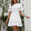 Crew Neck Hollow Out White Short Sleeve Dress
