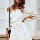 Summer Tassel Detail Tie-Wrap Off The Shoulder Dress
