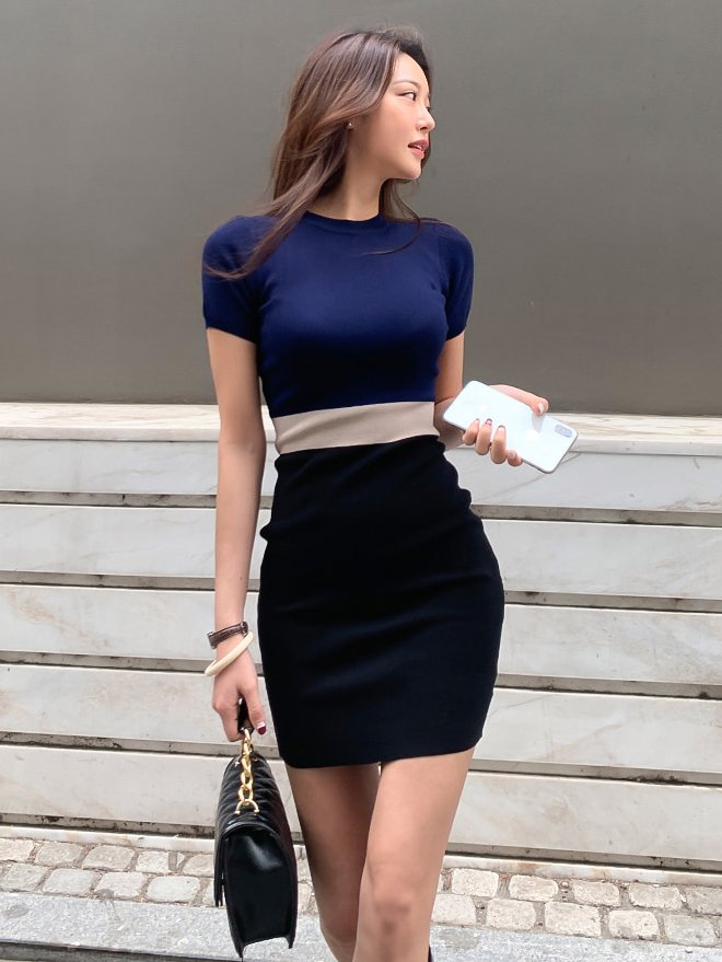 Contrast Color Fitted Knitting Dress For Women