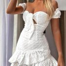 Boat Neck Smart Waist Embroidery White Dress