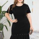 Studded Decor Fishtail Black Plus Size Dresses