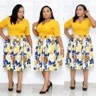 V Neck Printed Short Sleeve Plus Size Dress
