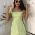 Square Neck Puff Sleeve Green A-Line Dress