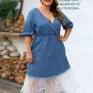 Plus Size Tulle Patchwork Denim Midi Dress