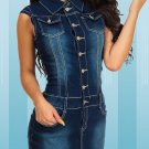 Single-Breasted Fitted Sleeveless Denim Dress