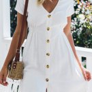 Solid Button Down Short Sleeve Dress