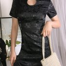 Stand Neck Jacquard Fitted Black Cheongsam