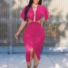 Deep V Neck Smart Waist Short Sleeve Dress