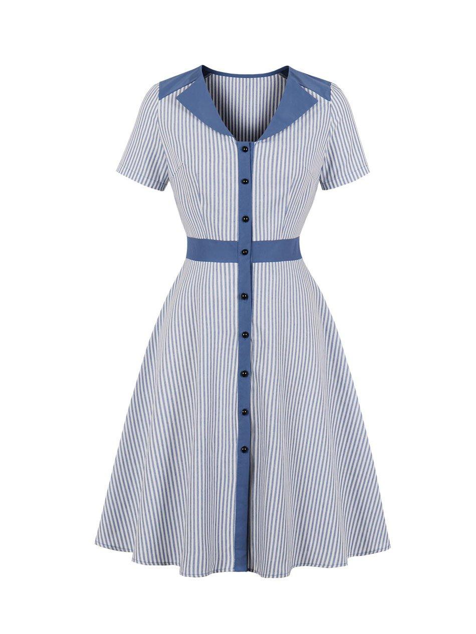 Stripe Smart Waist Short Sleeve Dress
