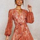 Ruffles Detail Tie-Wrap Lace Long Sleeve Dress