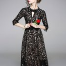 Large Hem Fitted Black Short Sleeve Lace Dress