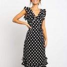 V Neck Ruffle Polka Dots Women Dresses