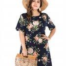 Plus Size Flower Printed Short Sleeve Dress