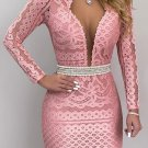Deep V Neck Fitted Lace Long Sleeve Dress