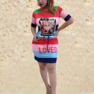 Printed Contrast Color Striped Short Sleeve Dress