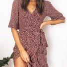 Summer V Neck Half Ruffled Sleeve Floral Dress