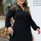V Neck Lace Panel Long Sleeve Plus Size Dress
