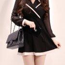 Lapel Collar Fitted Black Ladies Dress