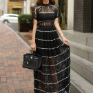 Hollow Out Fitted Black Maxi Dress
