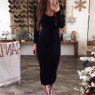 Springy Knitting Long Sleeve Slim Bodycon Maxi Dresses