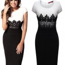 Ol Style Crew Neck Lace Patchwork Bodycon Dress