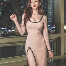 Hollow Out Embroidery Detail Long Sleeve Bodycon Dress