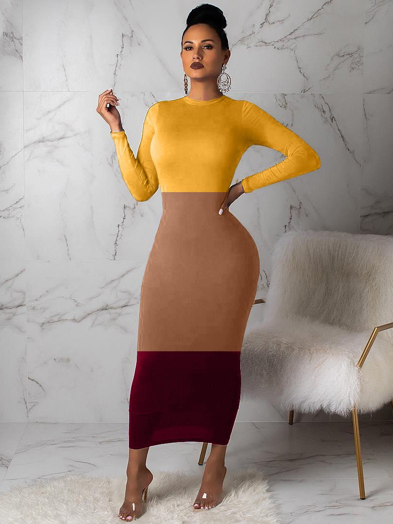 Contrast Color Long Sleeve Fitted Maxi Dress
