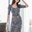 Graceful Printed Split Bodycon Dress