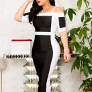 Black And White Off Shoulder Plus Size Dress