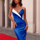 Contrast Color Strapless Sleeveless Cocktail Dresses