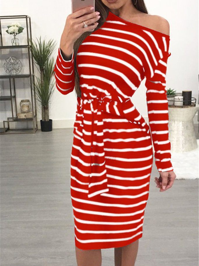 Crew Neck Tie-Wrap Long Sleeve Striped Dress