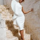 One Shoulder Ruffled White Bodycon Dress